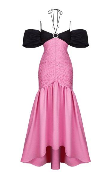 Buckle-Embellished Off-Shoulder Draped Linen-Blend Gown