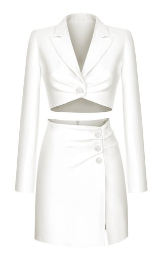 Button-Embellished Draped Linen-Blend Mini Skirt