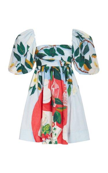 Painted Puff-Sleeve Cotton Mini Dress