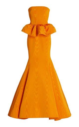 Strapless Peplum Moire Faille Gown