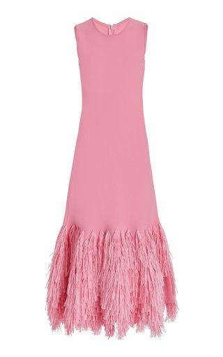 Raffia Trim Hem Sheath Dress