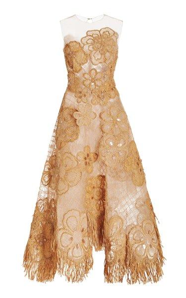Illusion Neck Raffia Flower Embroidered Gown
