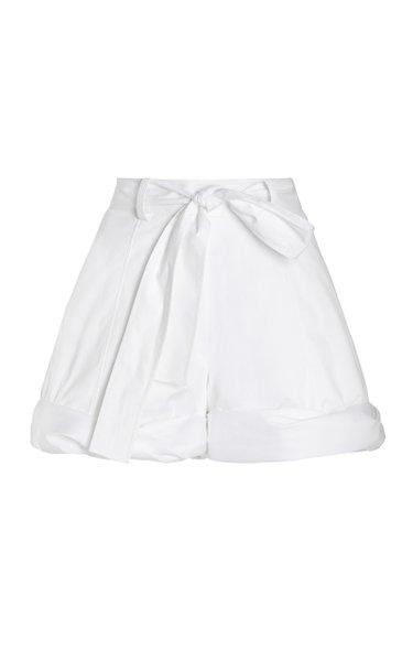 Rolled Cuff Cotton Short W/ Self Tie Waist