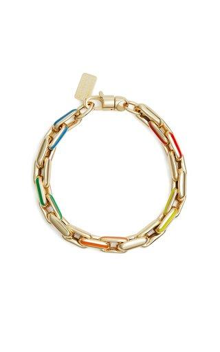 14K Yellow Gold & Rainbow Enamel Bracelet