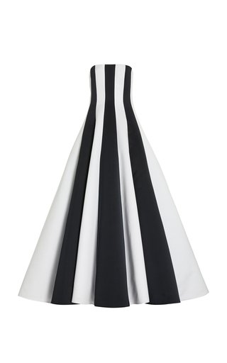Contrast Panel Satin Gown