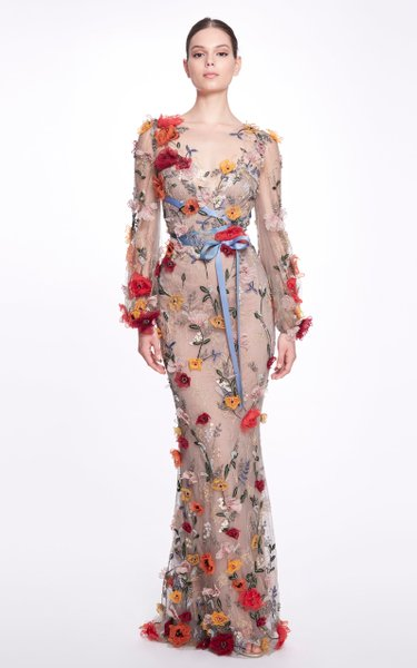 Embroidered Floral Tulle Gown