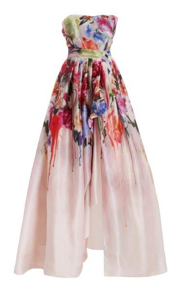 Draped Strapless Silk Organza Gown