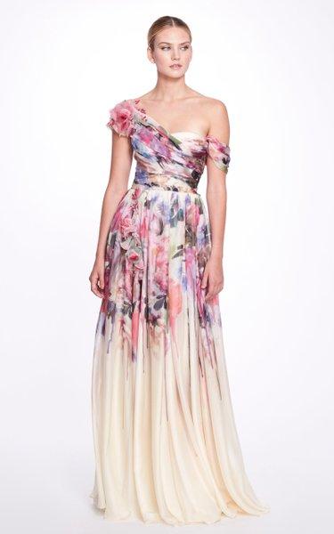 Draped Asymmetric Silk Chiffon Gown