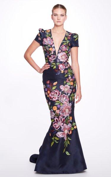 Embroidered Silk Gazar Gown