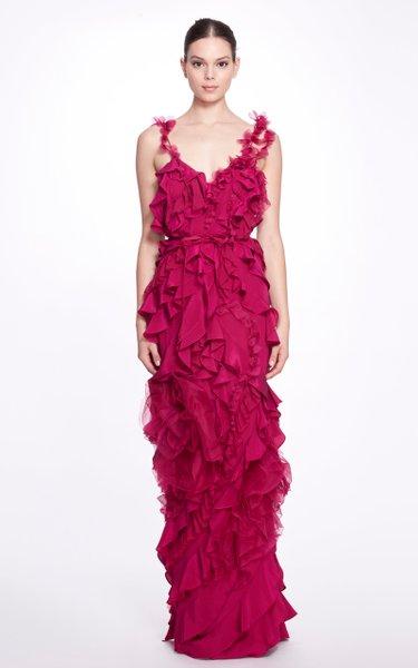 Ruffled Silk Column Gown