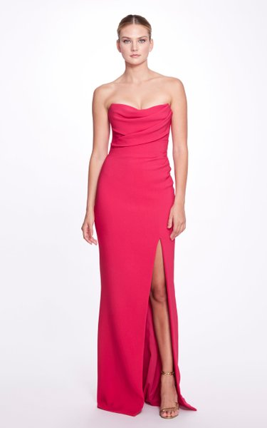 Draped Strapless Crepe Gown