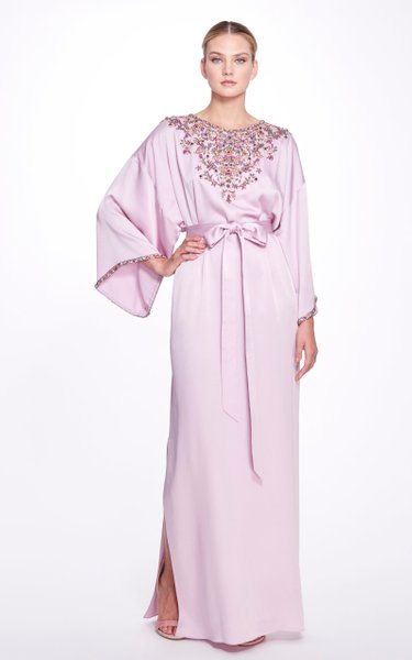 Embroidered Crepe Caftan