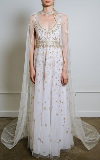 Constellation Embellished Tulle Cape