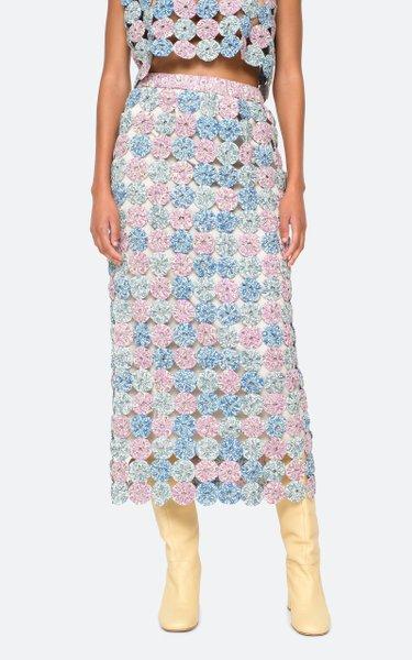 Ida Print Hand-Made Yo Yo Cotton Midi Skirt