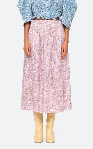 Ida Print Cotton Midi Skirt