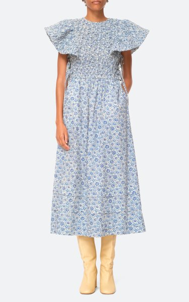 Ida Print Smocked Cotton Midi Dress