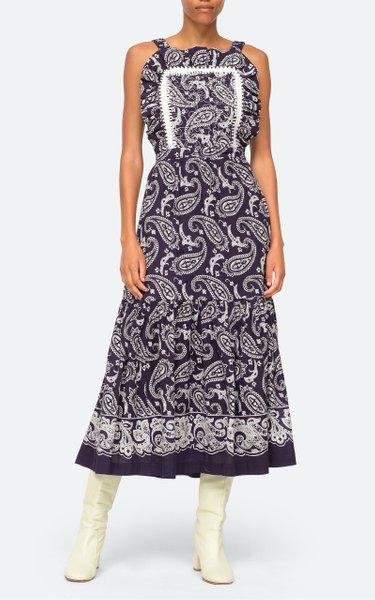 Theodora Paisley Apron Cotton Midi Dress