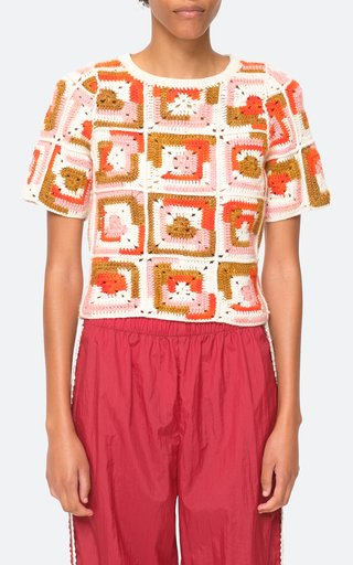 Hayden Crochet Wool-Silk Short Sleeve Sweater