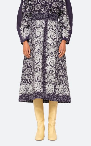 Theodora Paisley Quilted Cotton Midi Skirt