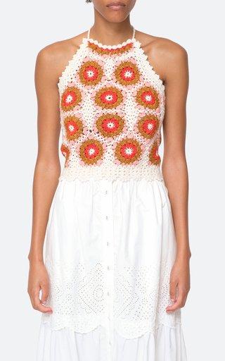 Hayden Crochet Halterneck Wool-Silk Tank Top