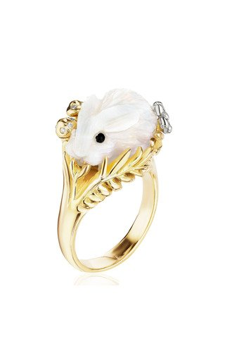Wonderland 18K Yellow and White Gold Opal, Diamond Bunny Ring