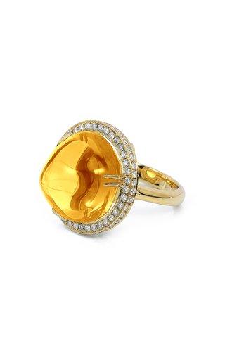 18K Yellow Gold Citrine, Diamond Ring