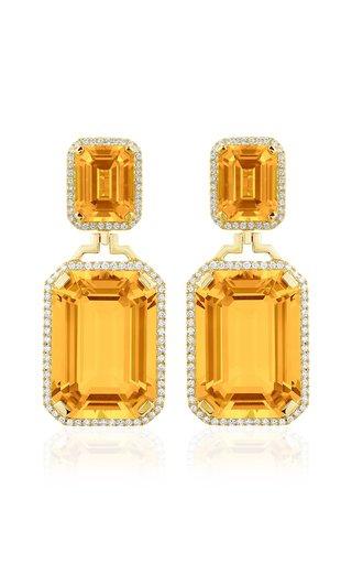 18K Yellow Gold Citrine, Diamond Earrings