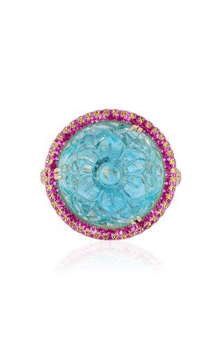 18K Yellow Gold Aquamarine, Sapphire, Diamond Ring