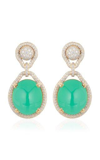 18K Yellow Gold Chrysoprase, Diamond Earrings