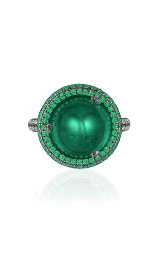 18K Yellow Gold Emerald, Diamond Ring