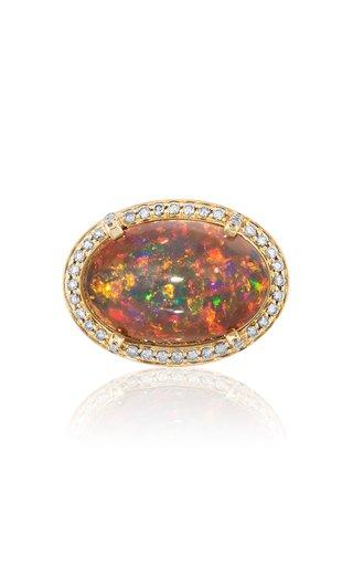 18K Yellow Gold Opal, Diamond Ring