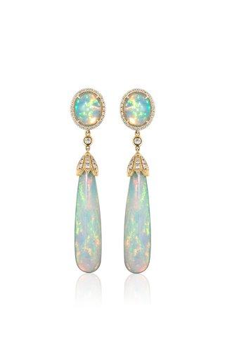 18K Yellow Gold Opal, Diamond Earrings