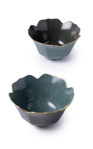 Set-of-Two Small Painted Porcelain Fluted Bowls