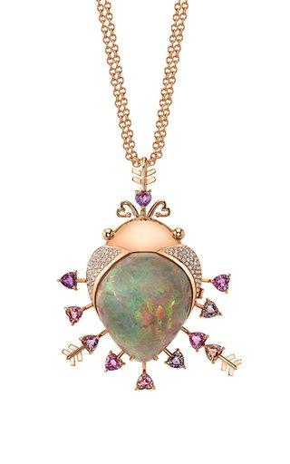 18K Pink Gold Opal Locket Charm