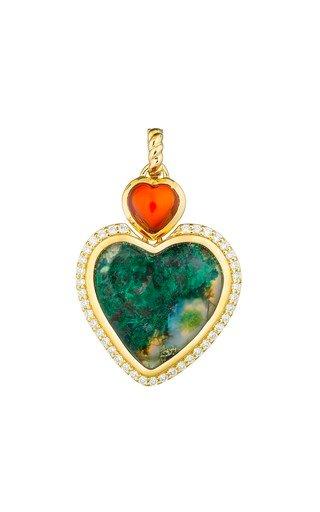 18K Yellow Gold Silica Chalcedony Heart Pendant