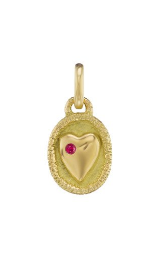 18K Yellow Gold Ruby Heart Charm