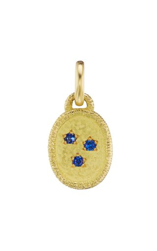 18K Yellow Gold Sapphire Star Charm
