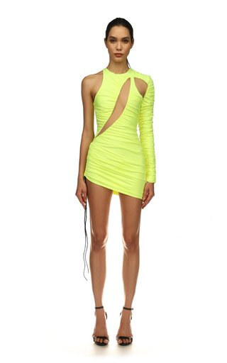 Asymmetric Ruched Lycra Mini Dress