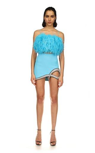 Crystal Embroidered Cady Mini Skirt