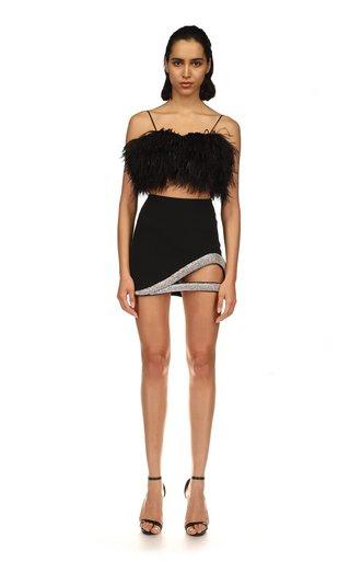 Crystal Embroidered Cutout Cady Mini Skirt