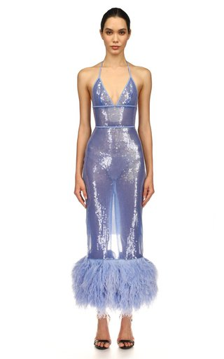 Feather-Trimmed Sequin Midi Dress
