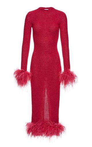 Feather-Trimmed Crochet Midi Dress