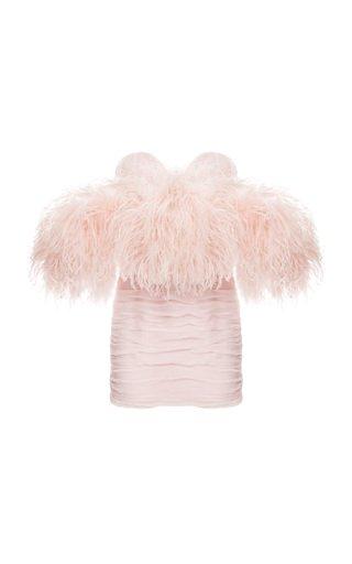 Feather-Trimmed Silk Mini Dress