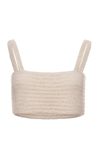 Crochet Cotton-Blend Cropped Top