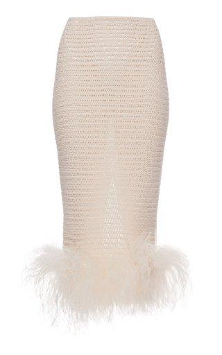 Feather-Trimmed Crochet Midi Skirt