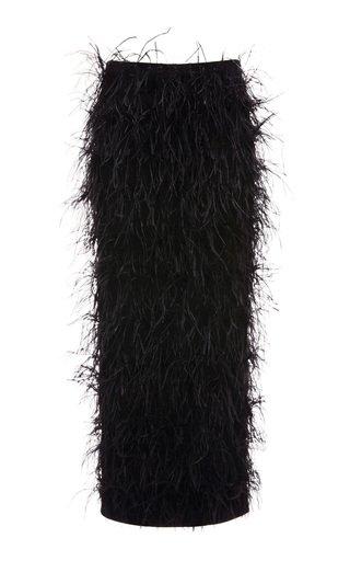 Feathered Wool-Blend Midi Skirt