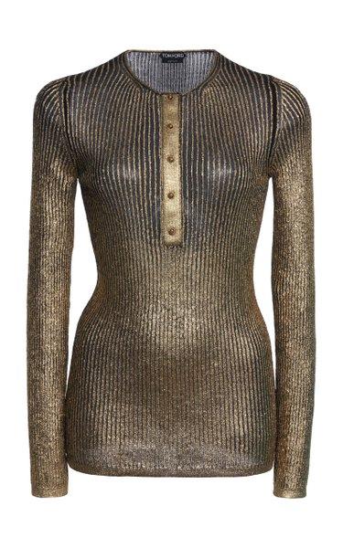 Metallic Cashmere And Silk-Blend Top