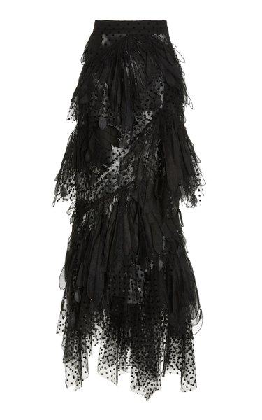 Rhythmic Embroidered Linen-Silk Midi Skirt