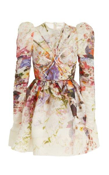 Prima Paneled Linen-Silk Mini Dress