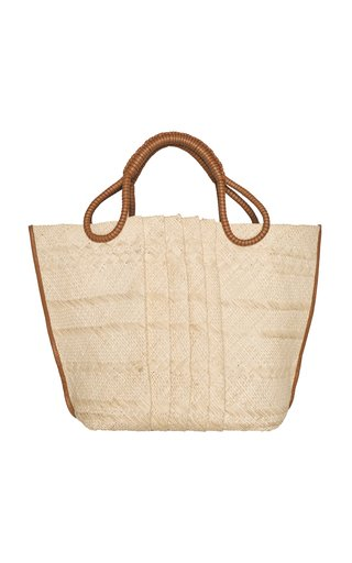 Train Traveler Woven Leather Handle Tote